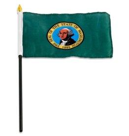 "Popcorn Tree Stick Flag 4""x6"" - Washington"
