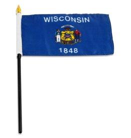 """Popcorn Tree Stick Flag 4""""x6"""" - Wisconsin"""