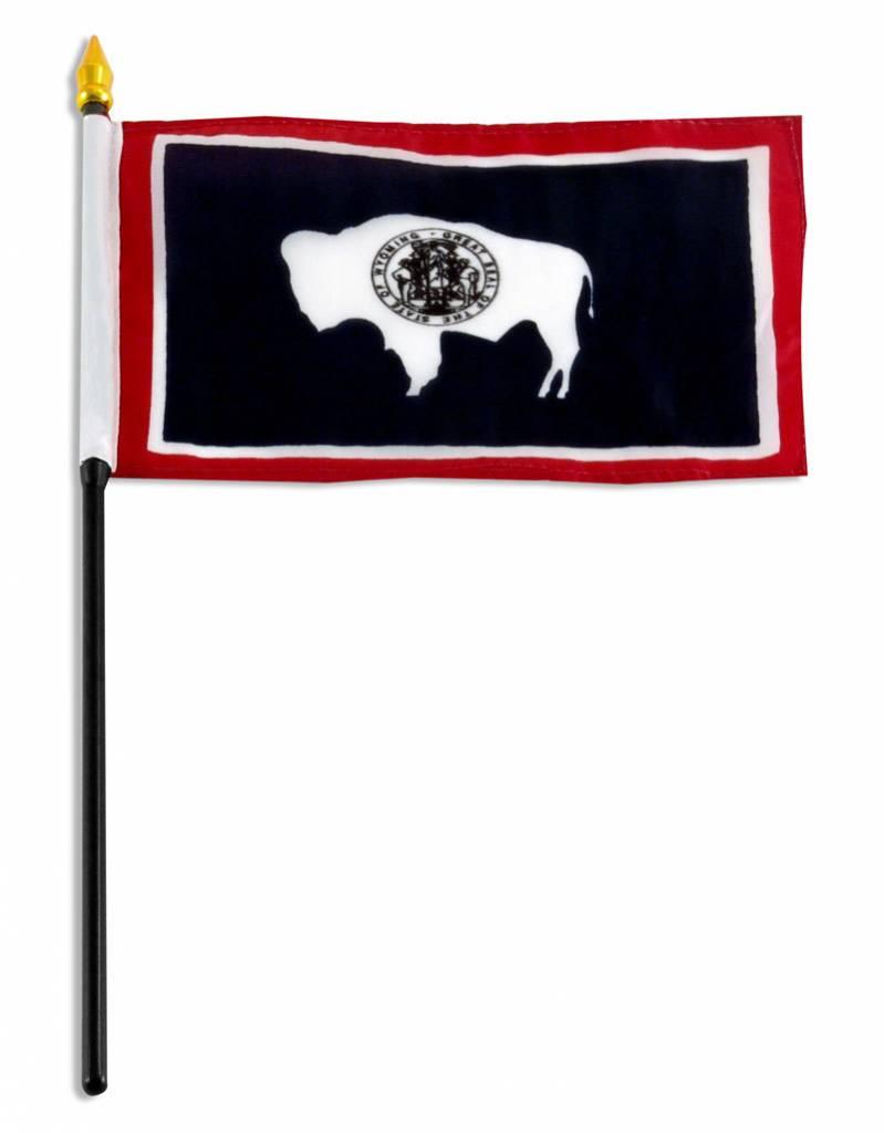 "Popcorn Tree Stick Flag 4""x6"" - Wyoming"