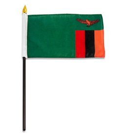 "Popcorn Tree Stick Flag 4""x6"" - Zambia"