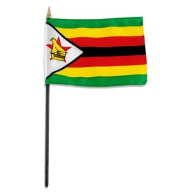 "Popcorn Tree Stick Flag 4""x6"" - Zimbabwe"