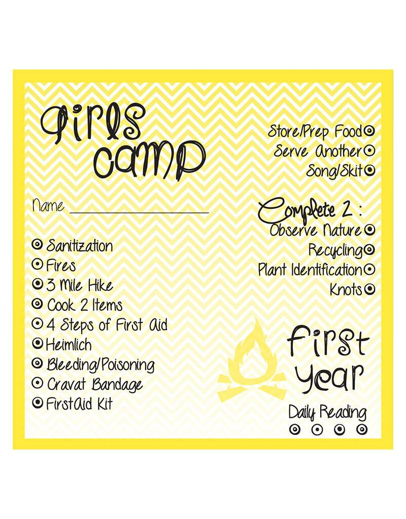 Young Women Camp Certification Punch Cards 1st Year Popcorn Tree