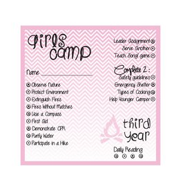 Popcorn Tree Girls Camp Punch Cards - 3rd Year, 6ct