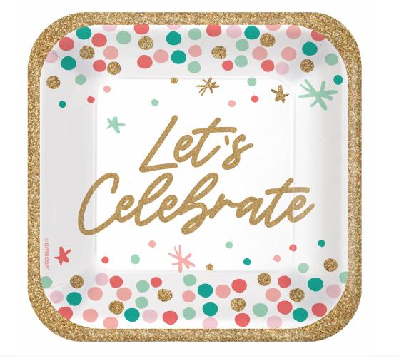 "Wish Big Birthday 7"" Square Plates"