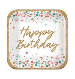 "Wish Big Birthday 9"" Square Plates"