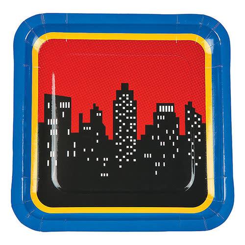 "FUN EXPRESS Superhero - Plates, 9"" Square Dinner"