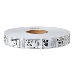 US Toy Admit One Carnival Tickets - White
