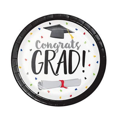 """Creative Converting Graduation Fun - 7"""" Plates - Congrats Grad"""