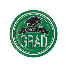"""Creative Converting School Colors Graduation 7"""" Plates - Emerald Green"""