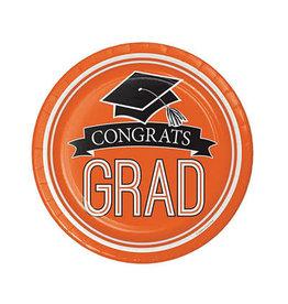 "Creative Converting School Colors Graduation 7"" Plates - Orange"