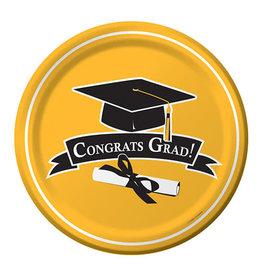 "Creative Converting School Colors Graduation 7"" Plates - Yellow"