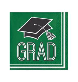Creative Converting School Colors Graduation Beverage Napkins - Green