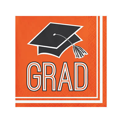 Creative Converting School Colors Graduation Beverage Napkins - Orange