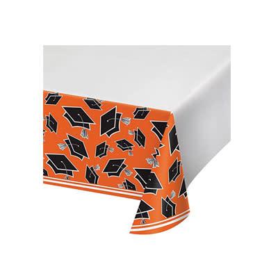 Creative Converting School Colors Graduation Tablecover - 54x102 Orange