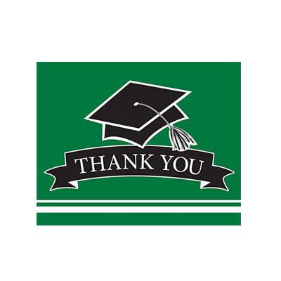 Creative Converting School Colors Graduation Thank You Cards - Green