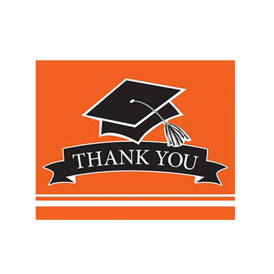 Creative Converting School Colors Graduation Thank You Cards - Orange