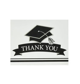Creative Converting School Colors Graduation Thank You Cards - White
