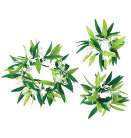 Green Leaf w/ Flower Head Wreath & Wrislets Set