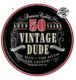 """Creative Converting Vintage Dude-  7"""" Lunch Plate, 50th"""
