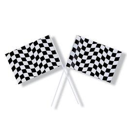 Creative Converting Black & White Check - Flag, Plastic