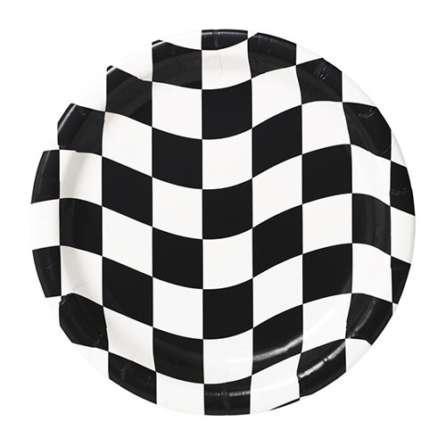 "Creative Converting Black & White Check - Plates, 9"" Dinner"