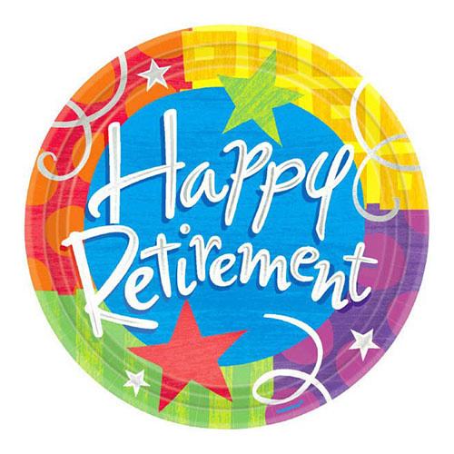 """Happy Retirement - Plates, 10.5"""" Round"""