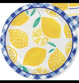 "Creative Converting Gingham Lemonade - 7"" Plates"