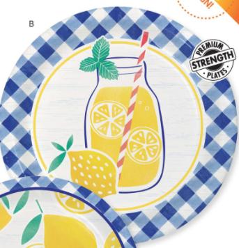"""Creative Converting Gingham Lemonade - 9"""" Plate"""