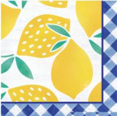 Creative Converting Gingham Lemonade - Lunch Napkins