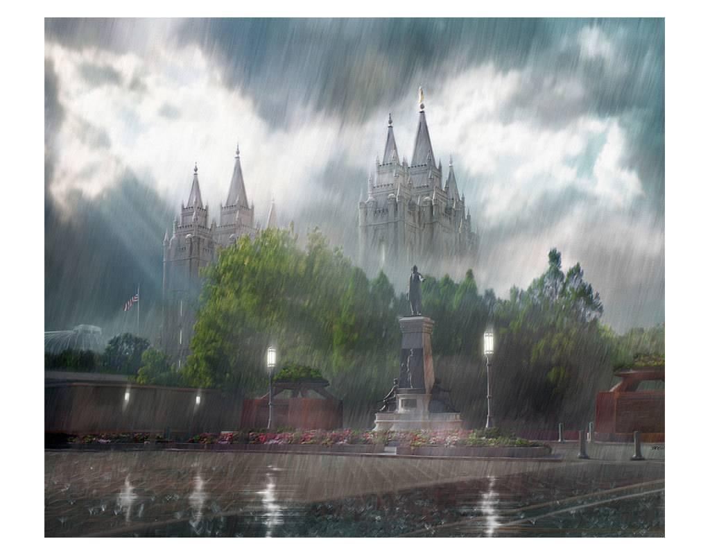 "Brent Borup Metal Print - Salt Lake Temple, Rainy 10""x8"""