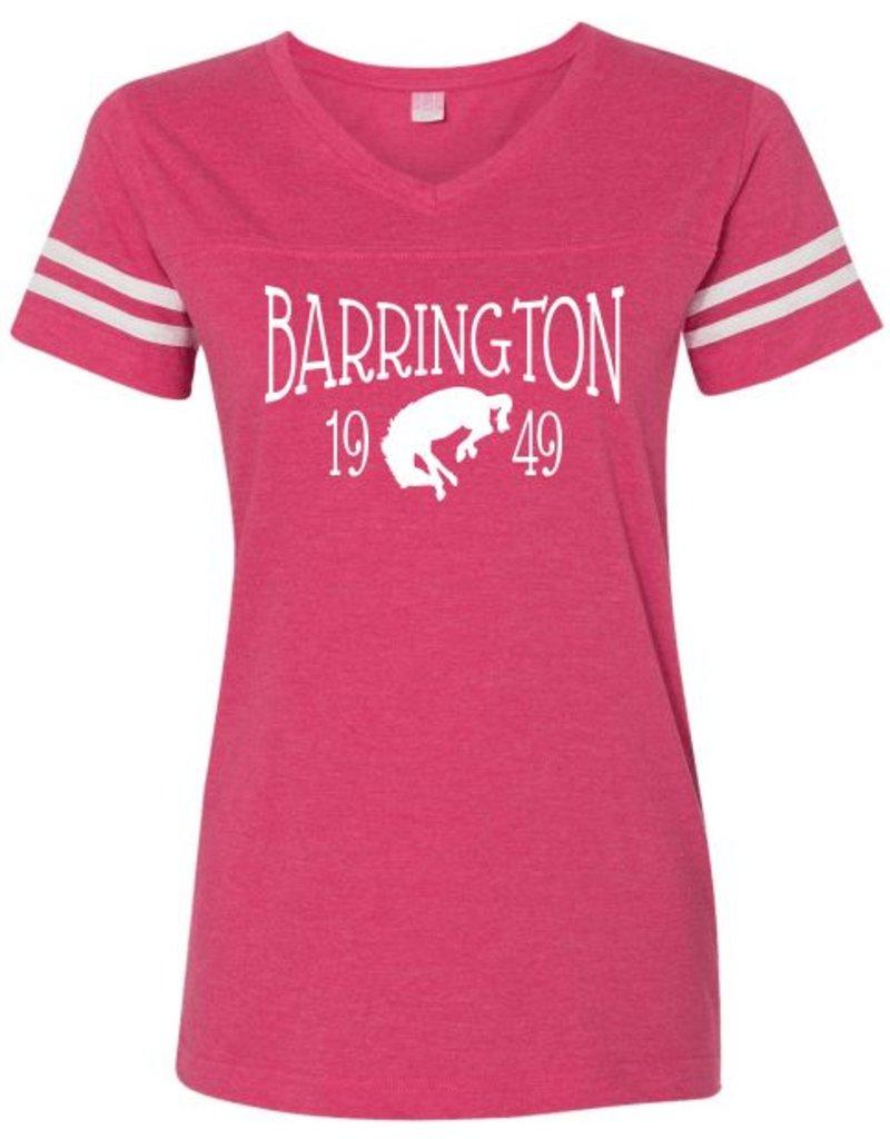 #331 Ladies V-Neck Vintage Football Tee - Barrington Broncos