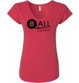 #328 Ladies Triblend V-Neck Tee - BALL4Training