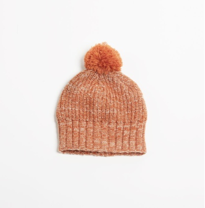 Look by M Colorful Two-Tone Pom Pom Hat