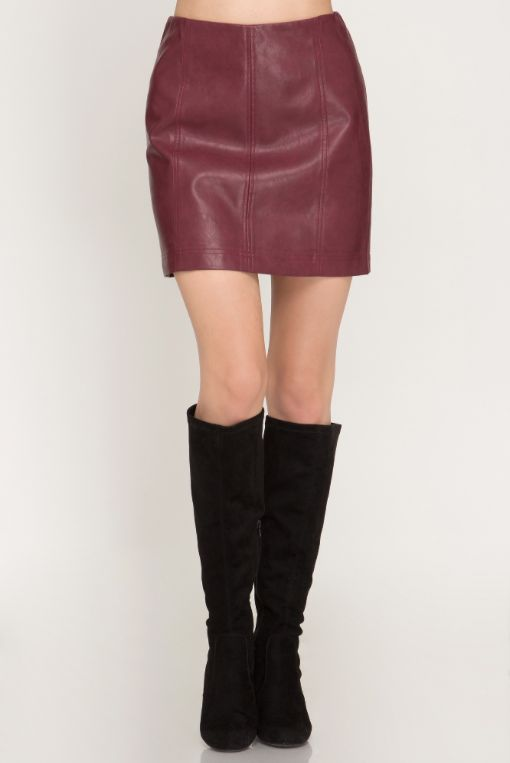 She + Sky Faux Leather Mini Skirt w/ Lining