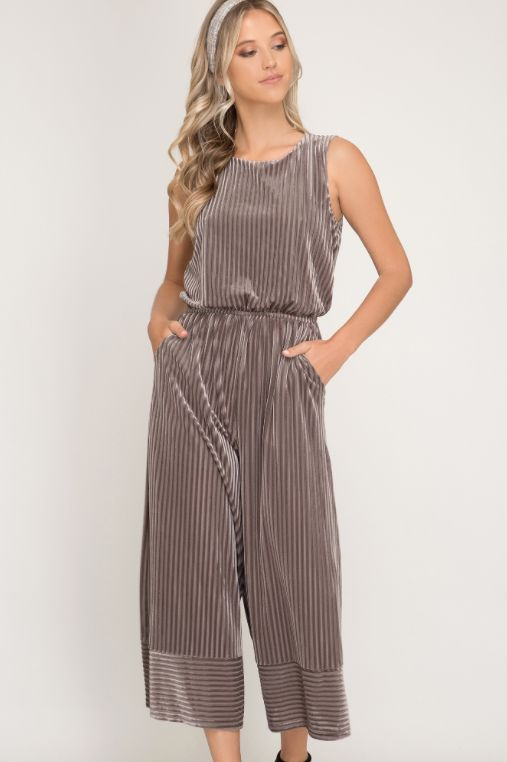 She + Sky Sleeveless Velvet Striped Knit Jumpsuit