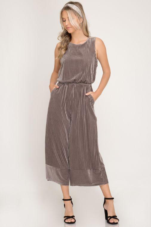 She + Sky Sleeveless Velvet Striped Knit Jumpsuit