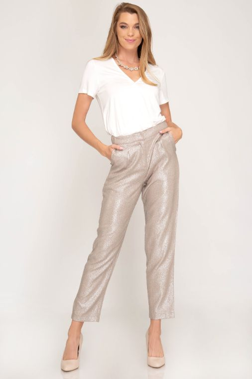 She + Sky Metallic Woven Pleated Pants