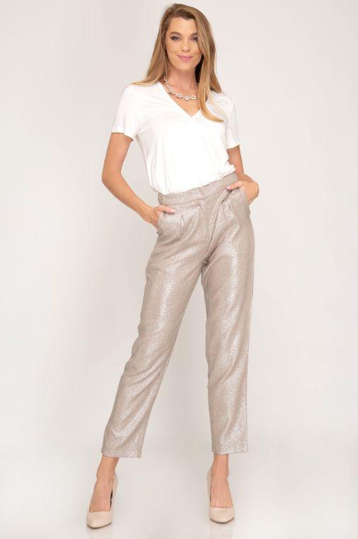 She + Sky Metallic Woven Pleated Pants