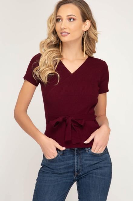 She + Sky SS Knit Sweater w/waist tie