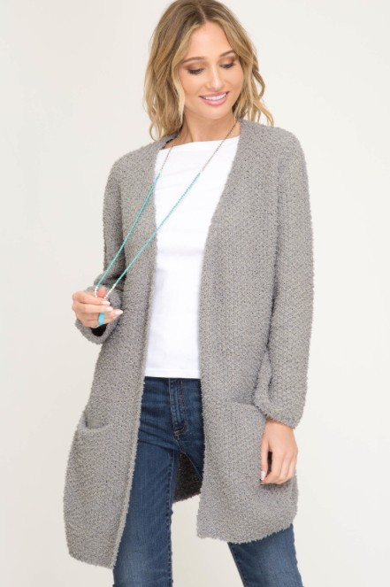 She + Sky Long Sleeve Sweater Cardigan w/ Pockets