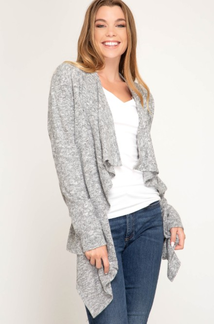 She + Sky LS Brushed Knit Open Cardigan