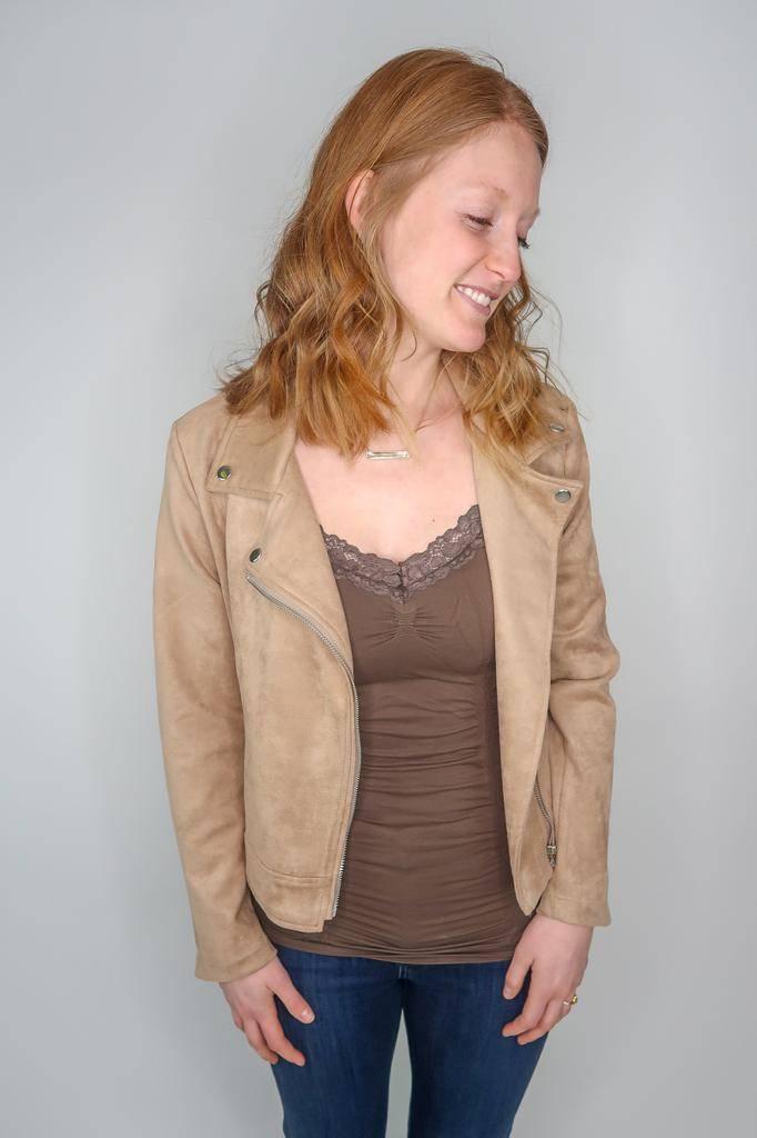 She + Sky Faux Suede Moto Jacket