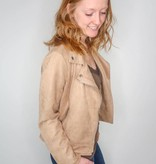 She + Sky Faux Suede Moto Jacket