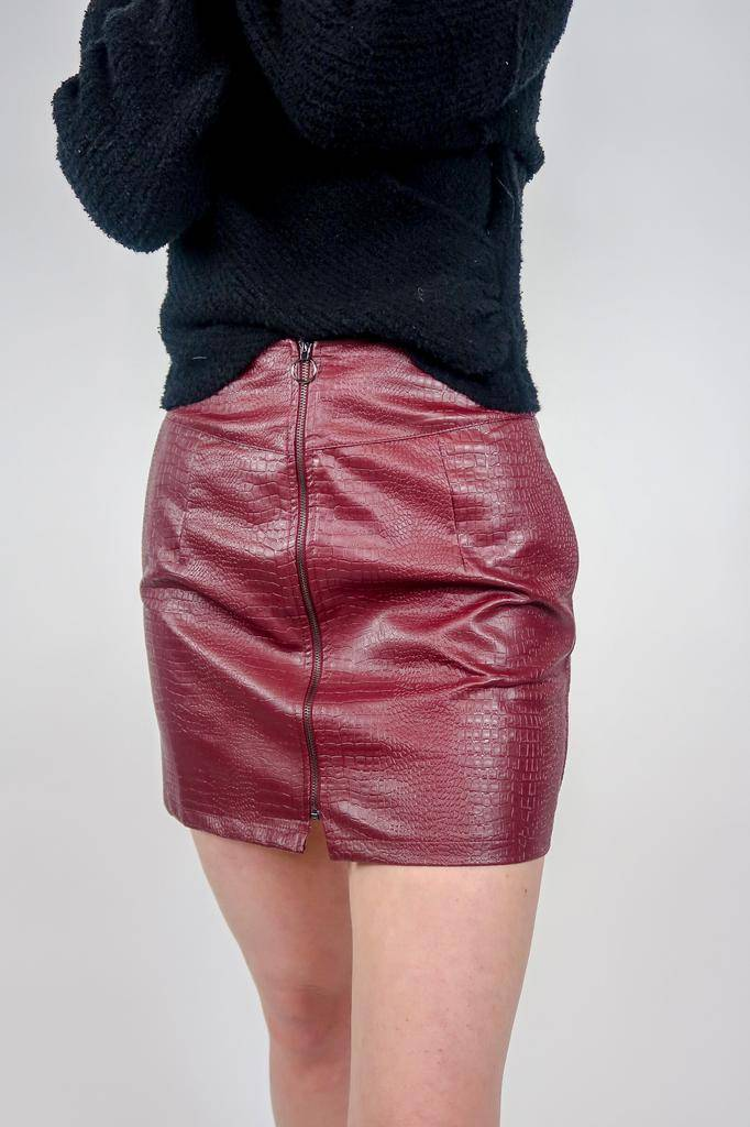 She + Sky Faux Leather Mini Skirt w/zipper