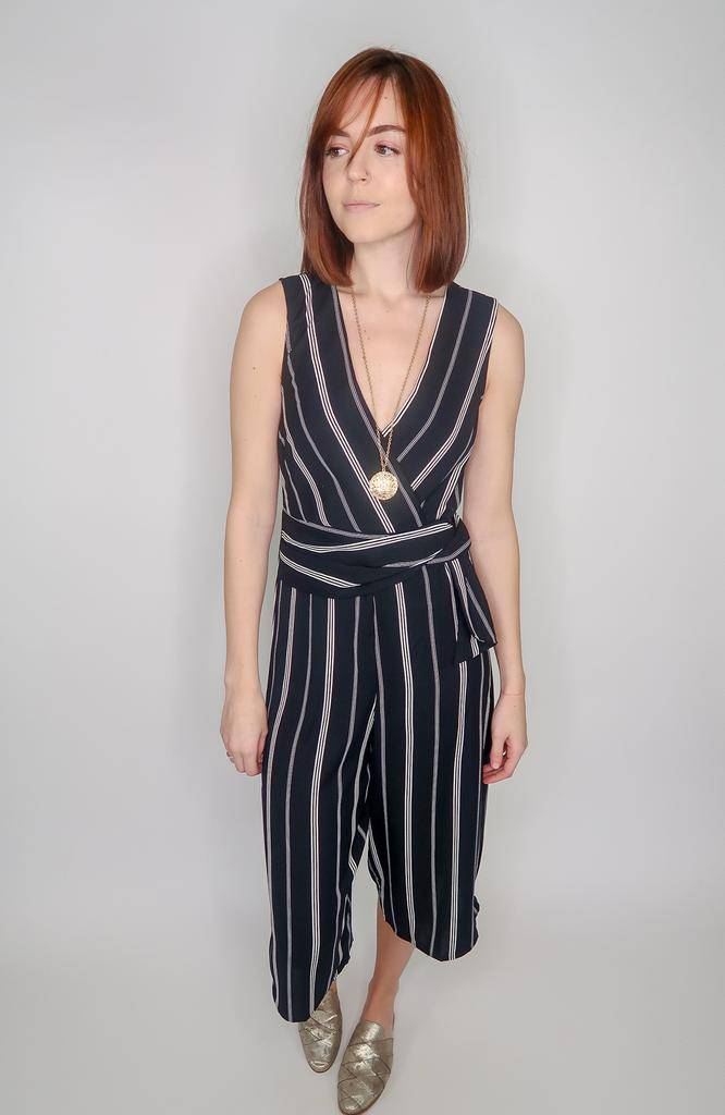 She + Sky Sleeveless Striped Woven Culotte Jumpsuit w/ Waist Tie Detail & Lining