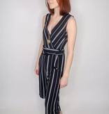 She + Sky Sleeveless Striped Woven Culotte Jumpsuit w/ Waist Tie Detail & Lining