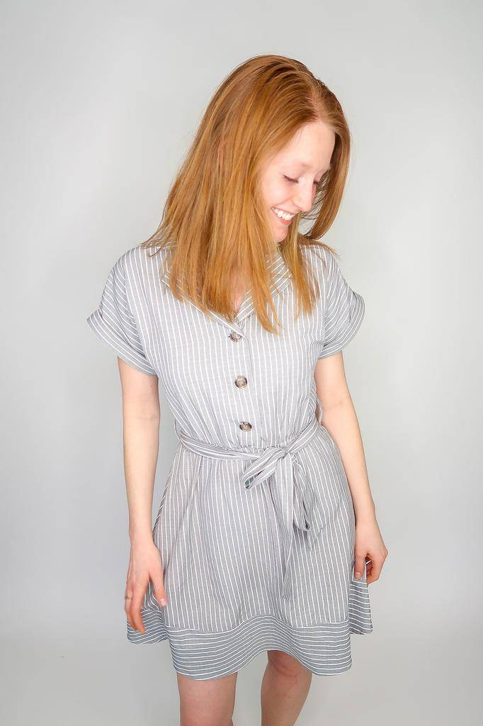 She + Sky Folded Short Sleeve Collared Button Down Dress w/ Waist Tie
