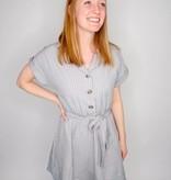 She + Sky Folded Short Sleeve Collared Button Down Dress w/ Waist Tie