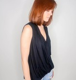 She + Sky Sleeveless Surplice Knit Hilo Top