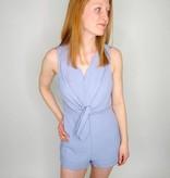 She + Sky Sleeveless Woven Romper w/ Front Tie Detail & Scalloped Hems